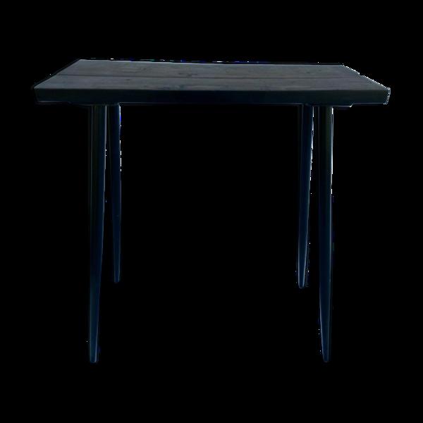 Table plateau bois piètement noir vintage belle patine industrielle 1960