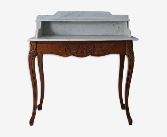 Table de toilette style Louis XV en noyer et marbre