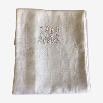 White linen tablecloth, marked PC
