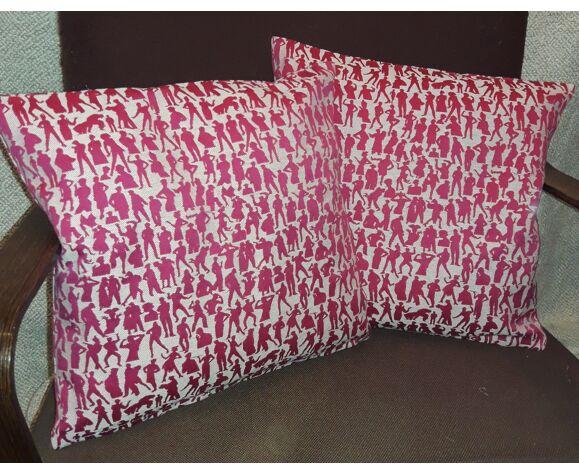 Paire de coussins avec tissu Silhouettes de Jean-Paul Gaultier