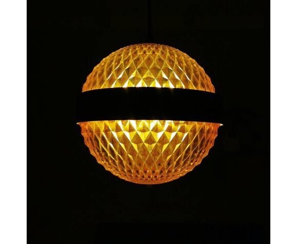 Lampe à suspension en plastique orange 70s