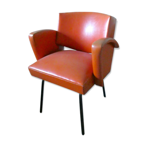 Fauteuil en skaï orange et pieds métal des années 60