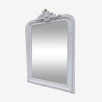 Ancien miroir blanc 66x97cm