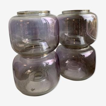 4 globes en verre fumé