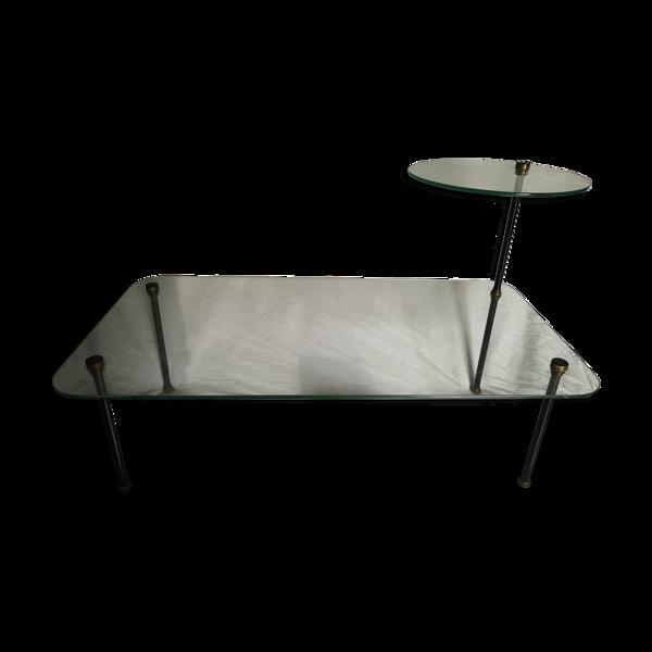 Table basse vintage en verre et métal français 1960