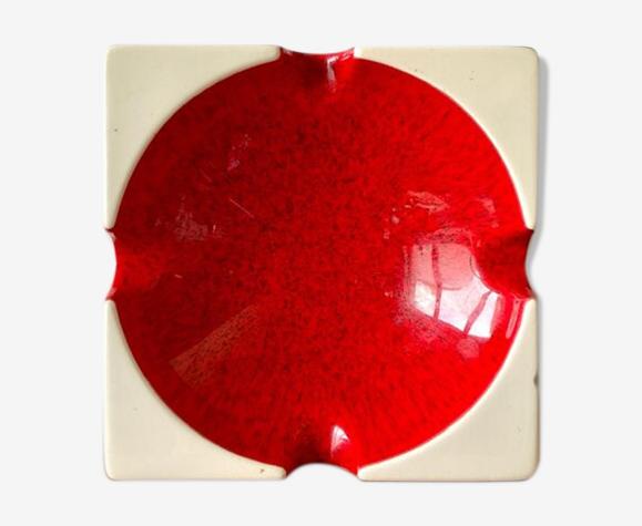 Cendrier en céramique émaillée rouge
