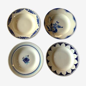 Set de 4 assiettes dépareillées vintage
