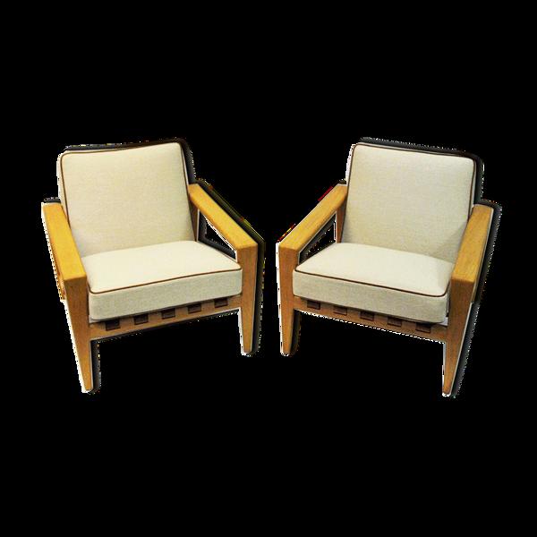 Paire suédoise de fauteuils en chêne Bodö par Svante Skogh 1957