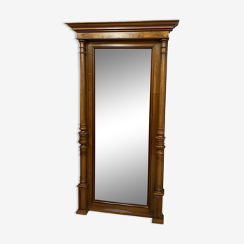 Miroir d'entre deux en noyer a patine miel vers 1900 174 X 94cm