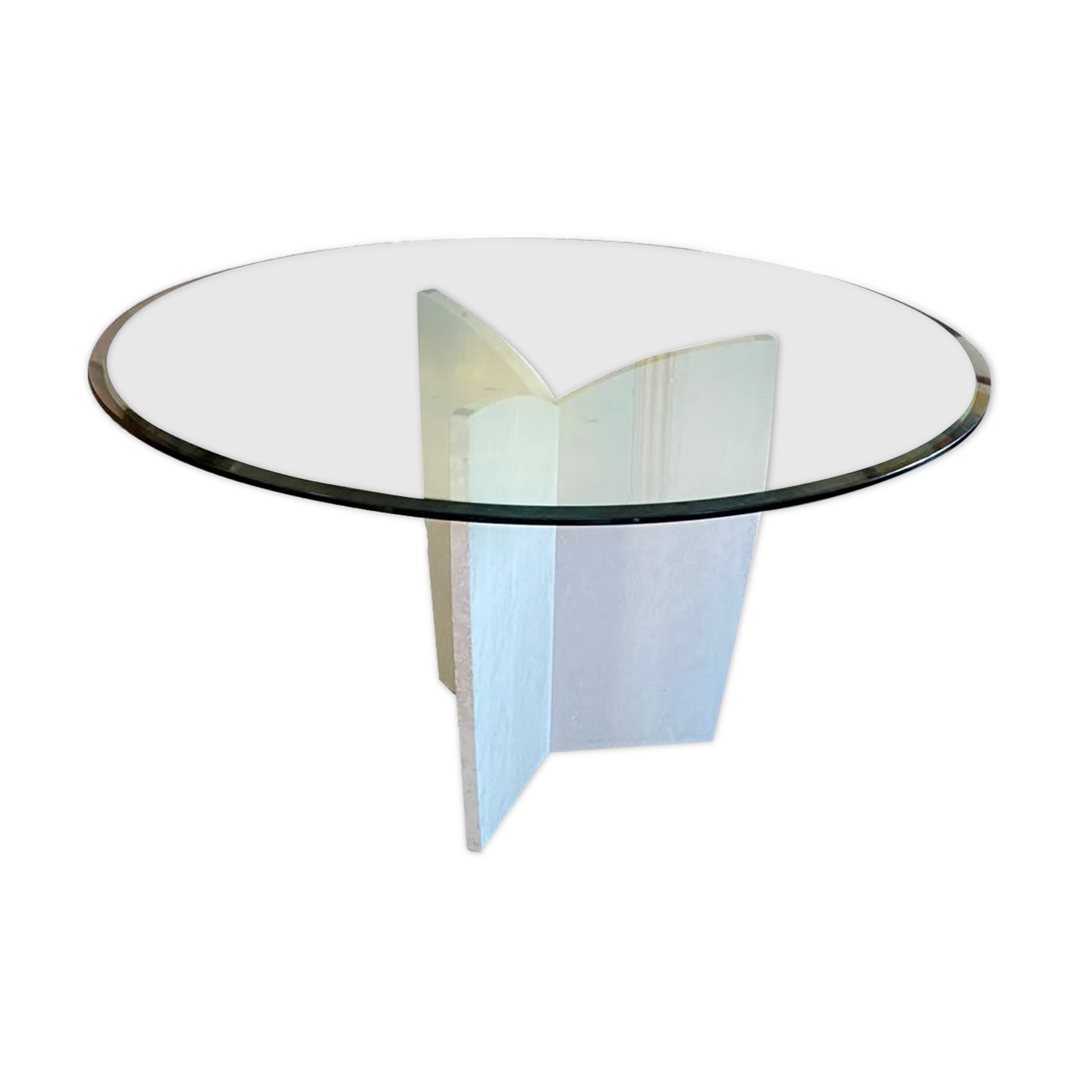 Table roche bobois plateau verre et pied travertin