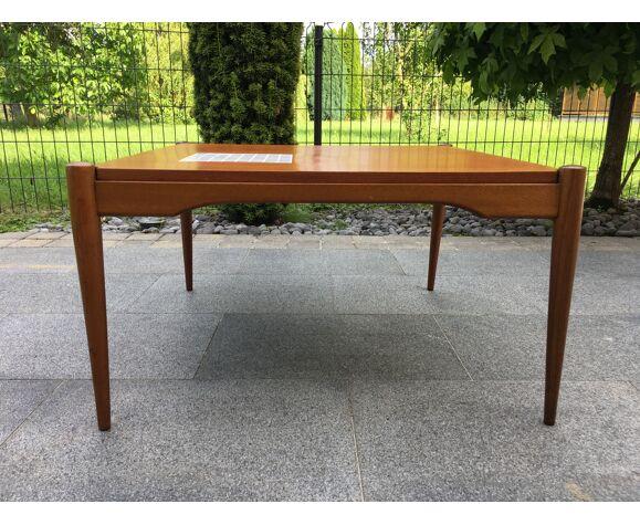 Table basse scandinave teck et carrelage années 60