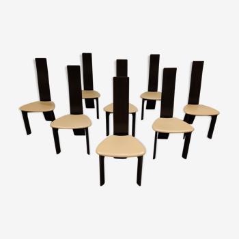Ensemble de 8 chaises à manger par Rob & Dries van den Berghe, années 1980
