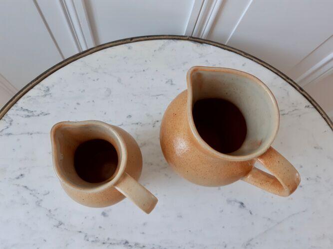 Duo de pichets en grès vintage Made In France