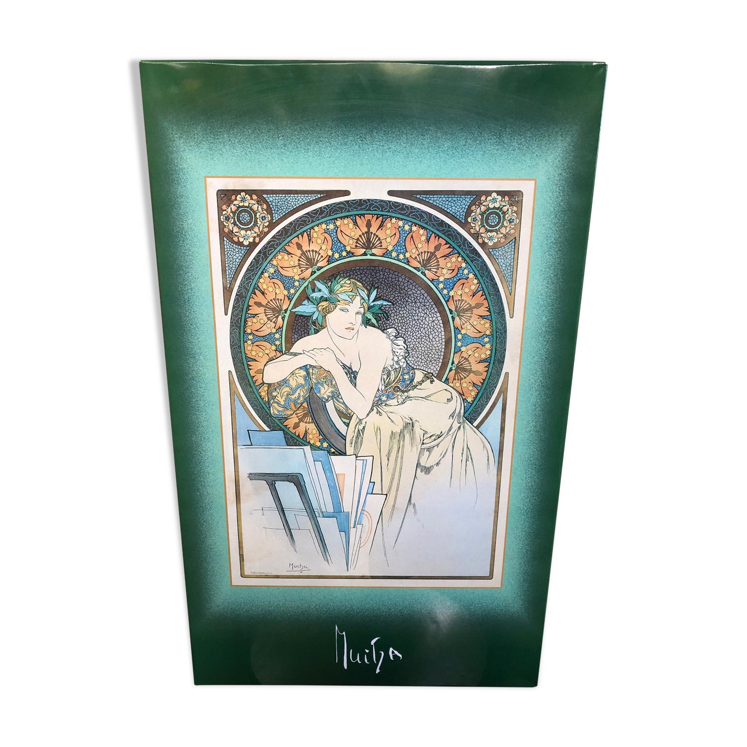Ancienne plaque métal mucha les grands maîtres litho d'art décoration vintage