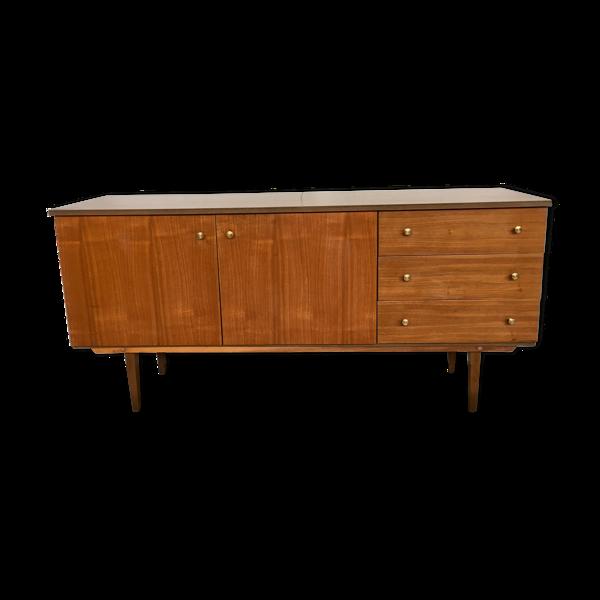 Enfilade bahut meuble tv hifi vintage pieds fuseaux  teck - 50/60 - look scandinave