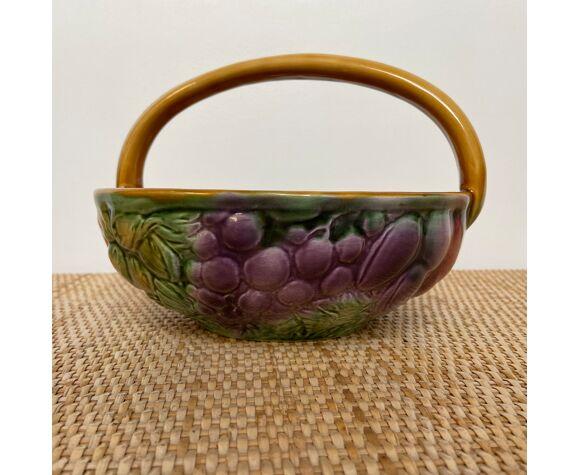 Coupe à fruits -forme panier-barbotine - décor fruits - sarreguemines - années 1970