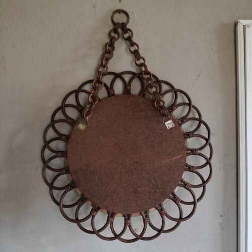 Miroir rond en rotin - Ø54cm