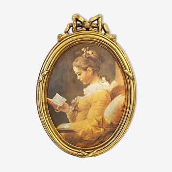 Cadre doré «la liseuse» en soie