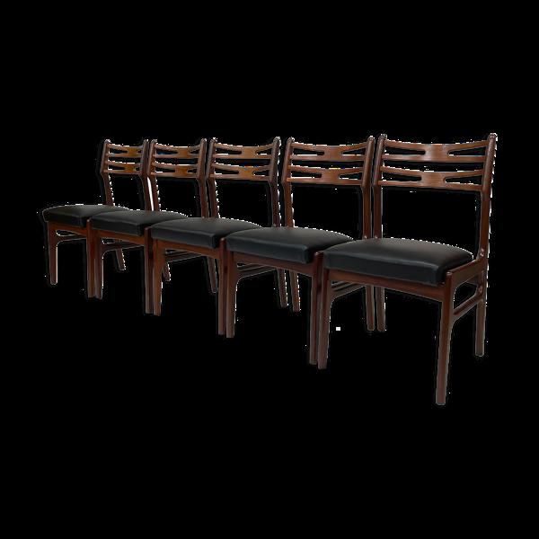 Ensemble de cinq chaises à manger par Johannes Andersen, Modèle 101 Design danois