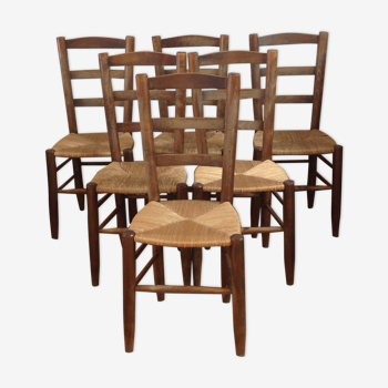 Set of 6 rustic brutalist chairs of solid wood straw countryside