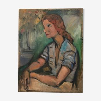 Portrait à l'huile, femme & impressionisme