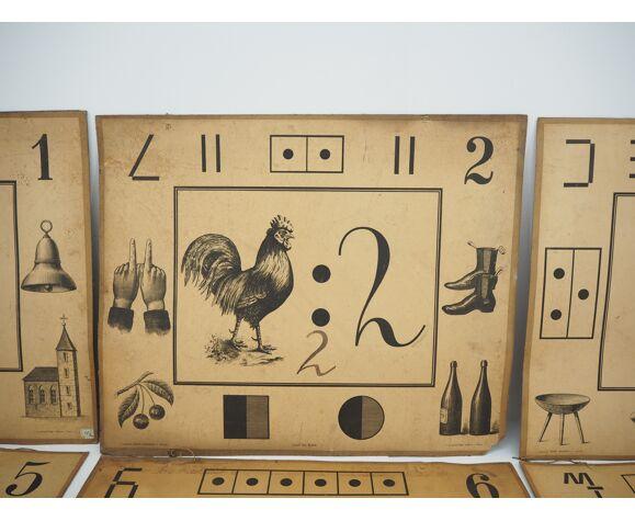 Ensemble de neuf affiches d'enseignement antique de litographie A. Haase, Prague, années 1900
