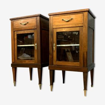 Paire de vitrines louis xvi en acajou vers 1850
