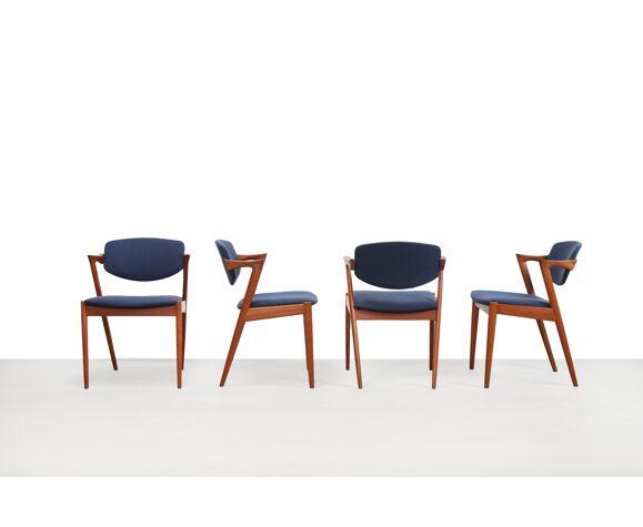 Ensemble de 4 chaises teak modèle 42 par Kai Kristiansen