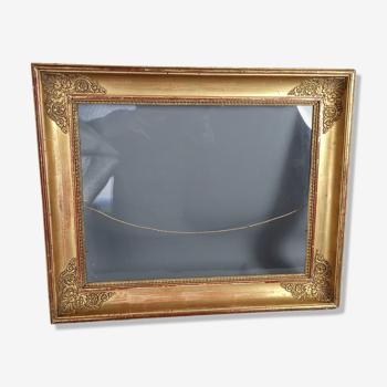 Cadre époque Empire bois stuc doré 45x37 cm, feuillure 37x29 cm + verre ancien SB