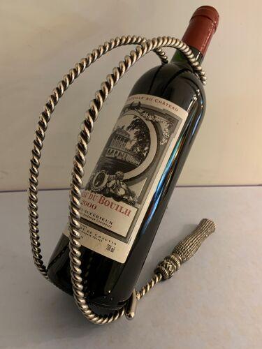 Porte bouteille en métal argenté passementerie 1960