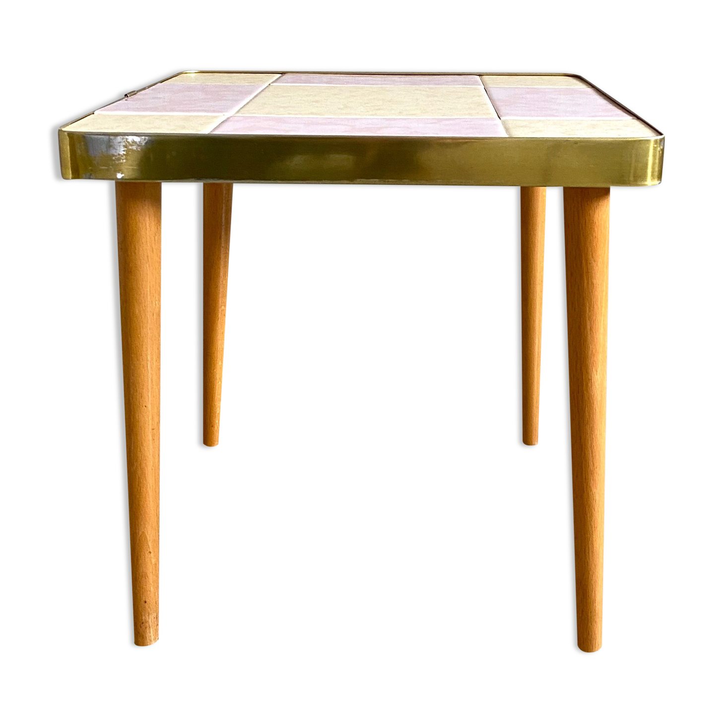 Table d'appoint en mosaïque, pastel rose jaune