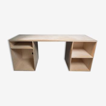 Bureau avec rangement en bois de bouleau brut
