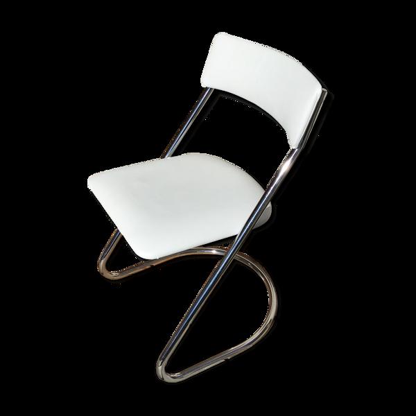 Chaise traîneau similicuir blanche