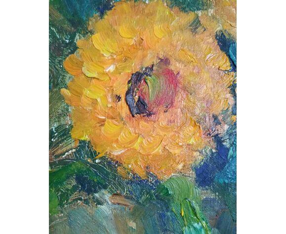 Le bouquet de soucis de Victor Ferreri huile sur panneau