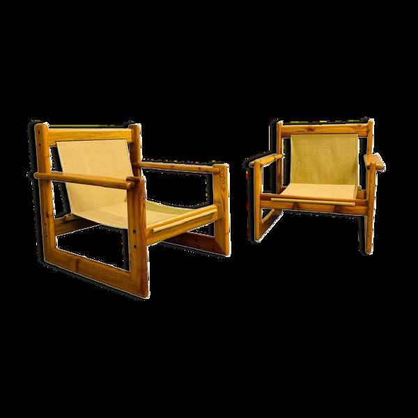 Paire de fauteuils safari en pin