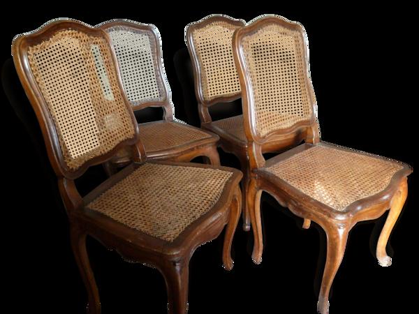 4 Chaises d'époque Louis XV