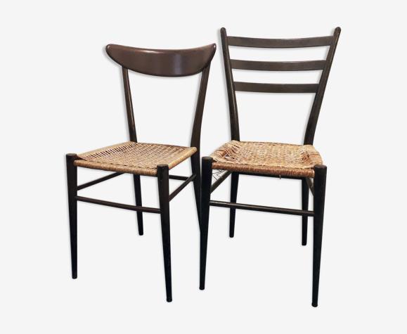 Set de 2 chaises vintage paillées
