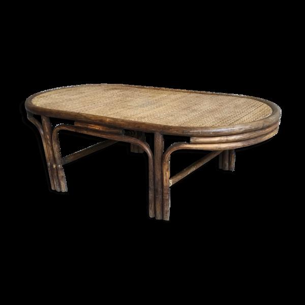 Table basse ovale en bambou et rotin vintage années 1960