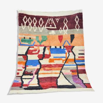 Tapis berbère marocain multicolore 200 x 147cm