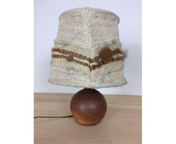 Lampe boule en grès et abat jour laine