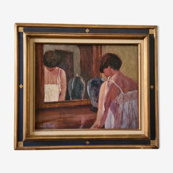 Huile sur toile par Jean Pesce Le Miroir