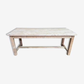 Table de ferme en chêne massif à entrecroise aéro gommée blanchie