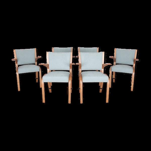 Ensemble de 6 chaises vintage française de Hugues Steiner pour Steiner années 1960