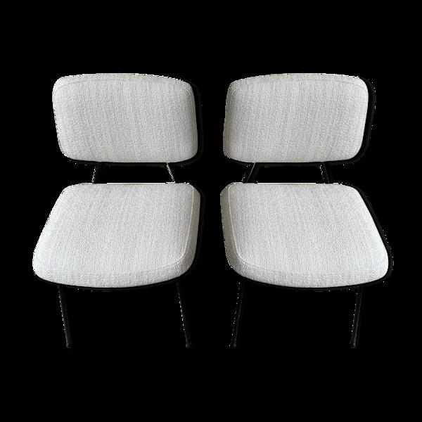 Paire de chaises CM196 en laine bouclée par Pierre Paulin