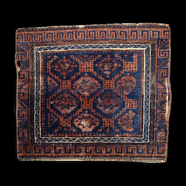 Tapis ancien Afghan Baluch visage de sac fait main 54cm x 62cm