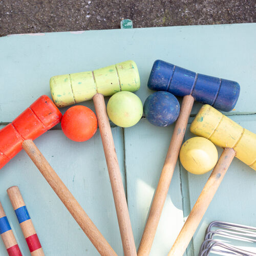 Vintage wooden croquet game