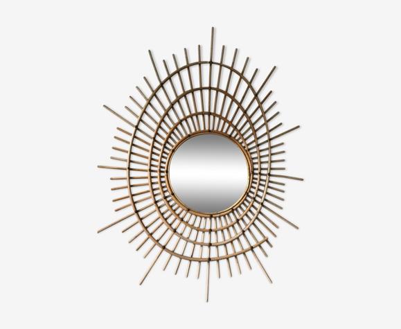 Miroir soleil en rotin 1970 design francais 65x84cm