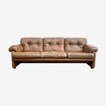 Canapé en cuir modèle Coronado par Tobia Scarpa par B&B Igalia, années 70