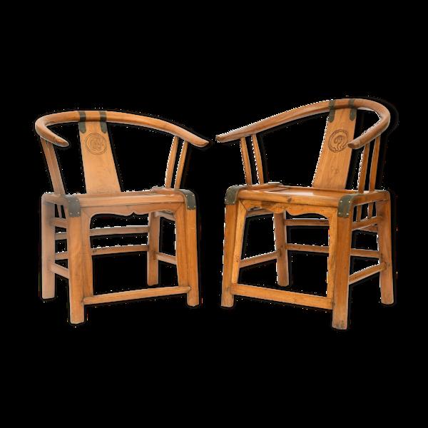 Paire de fauteuils de style Chine