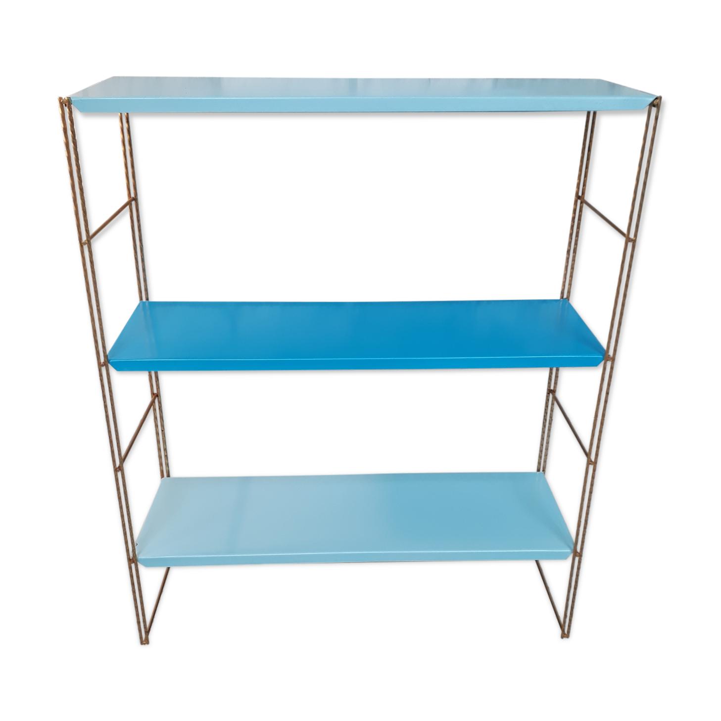 Étagère métal bleu montant strier or 59x48x16